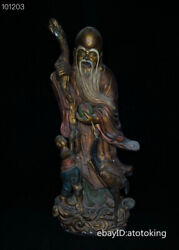China Antique Old Pure Copper Seiko Carving Clear Lines Painted Shou Xing Statue