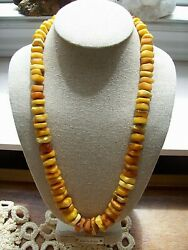 Vintage Natural Baltic Butterscotch And Egg Yolk Amber Necklace - 24 - 66 Gms