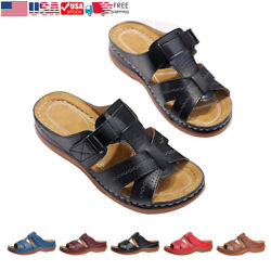 Womenand039s Slides Sandals Comfort Slip-on Wedge Light Weight Open Toe Walking Shoes