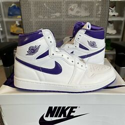 Nike Air Jordan 1 High Og And039court Purpleand039 Size 10.5w / 9m Style Cd0461-151