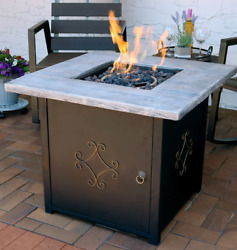 Outdoor Fire Pit Table Patio Backyard Heater Gas Lp Black 30 Square Cover New