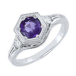 14k Solid White Gold Round Cut Amethyst And Diamond Vintage Style Ring