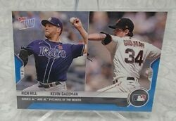 2021 Topps Now Mlb Card 296 Rich Hill Kevin Gausman - Blue Parallel 47 /49