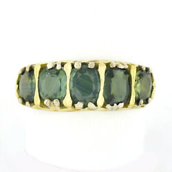 Antique 18k Gold 4.50ctw 5 Stone Gia Old Cushion Sapphire Open Work Band Ring