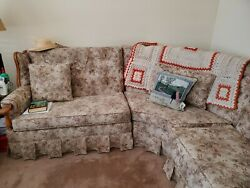 1950 Era Ethan Allen Sectional Sofa And Matching Maple Coffee Table