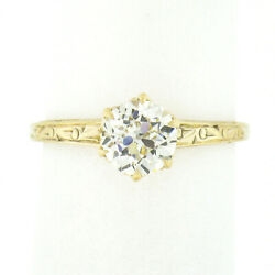 Antique Victorian 14k Gold 0.77ct Old European Diamond Solitaire Engagement Ring
