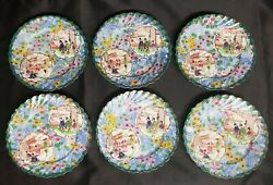 Set Of 6 Hand Painted Japanese Kutani 6in Scalloped Edge Plates / Saucers