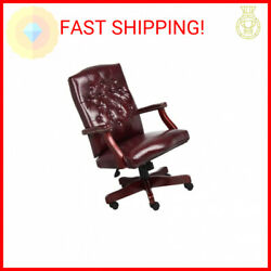 Boss Office Products Classic Executive Caressoft Chair With Mahogany Finish Andhellip