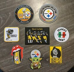 Pittsburgh Steelers Embroidered Patch Lot - 8 Great Sew Or Iron On Patches.