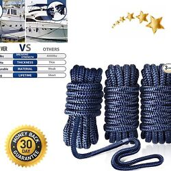 Dock Lines For Boats-3 Pack 1/2 X 15and039 Boat Ropes Double-braided Mooring Marine