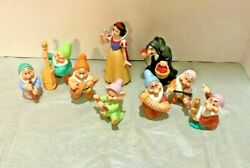 Vintage Disney Sri Lanka Snow White And The Seven Dwarfs Figurines With Witch