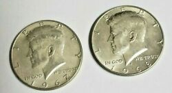 Silver Kennedy Half Dollars Lot Of 2 40 Silver 1967 1968 Beautiful Coins 2
