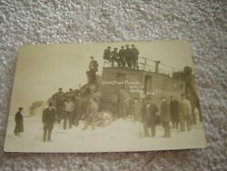 Vintage Postcard Real Photo Snow Plow Train Wreck Shelby Michigan Pere Marquette