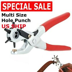 9 Leather Hole Punch Heavy Duty Hand Pliers Belt Holes 6 Sized Puncher Tool New