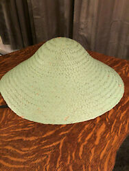 Vtg Green Asian Chinese Bamboo Hat Woven Straw Coolie Garden Fishing Rice 16