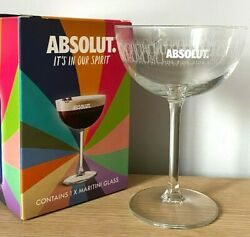 New Rare Absolut Vodka Limited Edition Promo Martini Style Boxed Glass