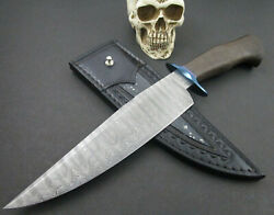 Custom Mozolic Knives Damascus Bowie Fighter Blued Guard Copper Inlay Ladder Pat