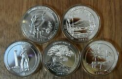 2013 5 Oz Silver Atb Complete Set - All Five Coins In Capsules