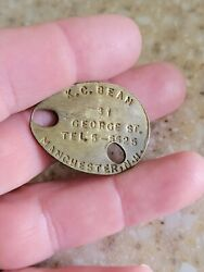 Vintage Early 1900s Manchester Nh New Hampshire Dog Tag Tax License Metal Badge