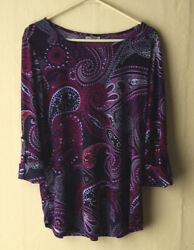 Roz And Ali Women's Top 3/4 Roll Up Sleeves Tunic Polyester Spandex Xl Multicolor