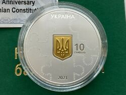 Ukraine 10 Uah 25 Years Of The Constitution Of Ukraine Silver Coin 2021 Year