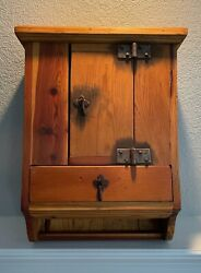 Refurbished Vintage Wooden Wall Mounted Medicine/spice Cabinet W/ Drawers