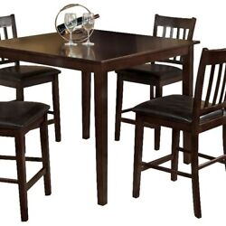 Saltoro Sherpi 5 Piece Wooden Counter Table With Slatted Back Chairs, Brown And
