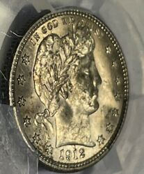 1912 25c Barber Quarter Very Clean Fields Nice Gold Toning Pcgs Certified Ms64