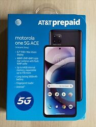 Prepaid Atandt Motorola One 5g Ace 64gb Gray Smartphone New Sealed Cell Phone