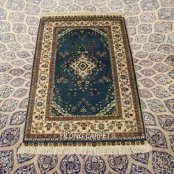 Yilong 2.5'x4' 300 Lines Handknotted Silk Tapestry Indoor Classic Blue Rug 257h