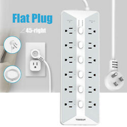 Power Strip Surge Protector 12 Outlets 3 Usb Charger 6 Switches 6 Ft Flat Plug