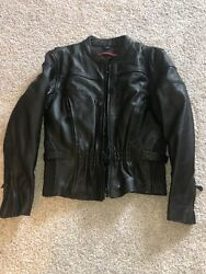 Leather King Women's Motorcycle Jacket Large With Zip-out Liner