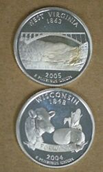 State Quarter Cameo Proofs Two 90 Silver Coins Wisconsin West Virginia M-3130
