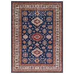 8and0398x12and0391 Navy Blue Super Kazak Medallion Design Wool Hand Knotted Rug G61144