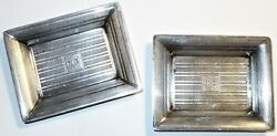 Rare Antique Pair Set Of Makers Sterling Silver Deco Trays C192769+g