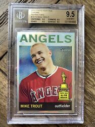 Bgs 9.5 2013 Topps Heritage Chrome Refractor Mike Trout /564 All 9.5 Subs
