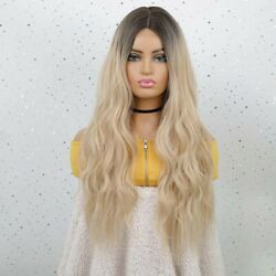 Ombre Blonde Long Curly Wavy Wigs Brown To Light Blonde Synthetic Wig For Women