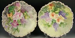 Pair Of Limoges France Hand Painted Lilacs And Roses Plaques Artist Signed