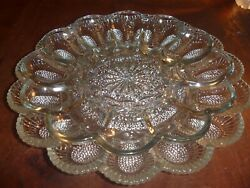 Vintage Hobnail And Clear Deviled Egg Dishes 2 15 And 12 Eggs