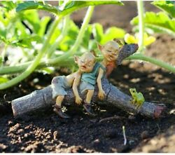 Miniature Fairy Garden Twin Pixies Napping On Tree Log - Buy 3 Save 5