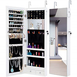 Voliner Jewelry Armoire Full-length Mirror Cabinet With Led Lights, Lockable