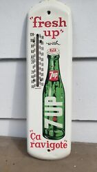 Vintage Advertising 1969 7up Metal Thermometer Sign Soda