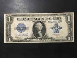 1923 Us Silver Certificate Paper Money - One Dollar Large Size Banknote