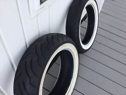 Dunlop American Elite Wide White Wall Front And Rear Motorcycle Tires Set