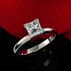 4 Claw Solitaire 1.07 Carat Vs/h Princess Cut Diamond Engagement Ring White Gold