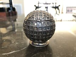 Vintage Jb Jennings Brothers 3482 Silver Plated Metal Golf Ball Antique Inkwell