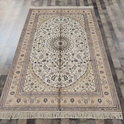 Yilong 5and039x8and039 Handknotted Silk Area Rug Living Room Home Decor White Carpet 052b
