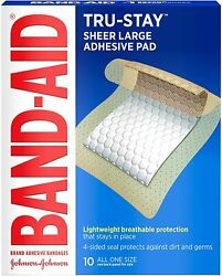 Band-aid Brand Tru-stay Adhesive Pads Large Sterile Bandages For Wound Care La