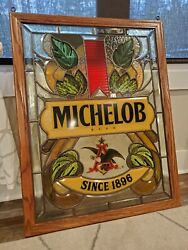 Vintage Michelob Beer Stained Glass Look Eagle Window Bar Sign Anheuser Busch