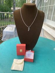 James Avery Cross Heart Key Of Promise Charm With Ja Necklace Chain 925 Mib